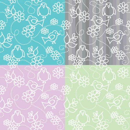 Birds flowers seamless patterns set Stock Vector - 18600944