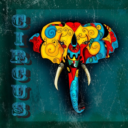 Circus poster with elephant photo