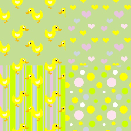 set of  seamless baby duck patterns Vector