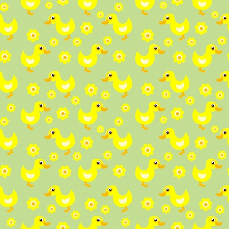 baby ducks: Seamless duck and flowers  pattern Illustration
