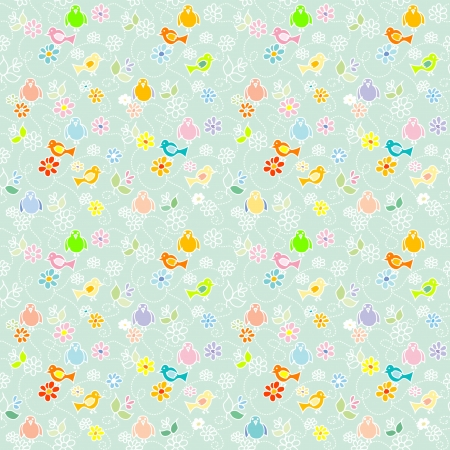 Baby Birds seamless pattern Vector