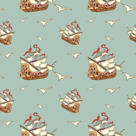 Pirate ship seamless pattern Vector