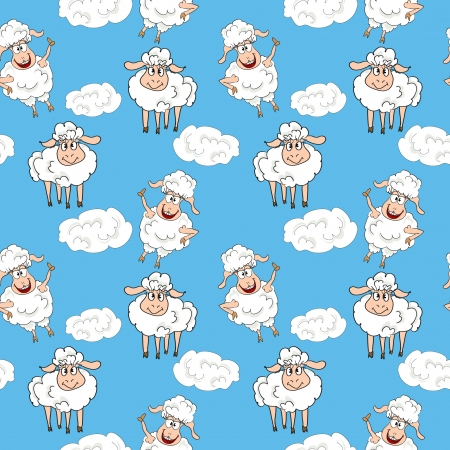 Funny sheep seamless pattern Vector