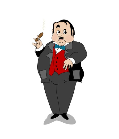 vintage cigar: Businessman Illustration