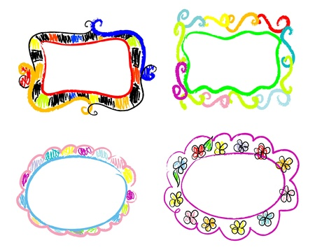 Color Doodles Frames Vector