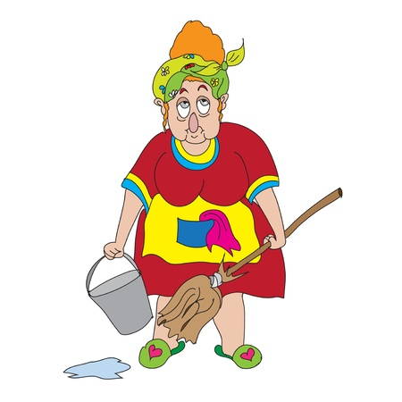 cartoon cleaner: Cleaning lady