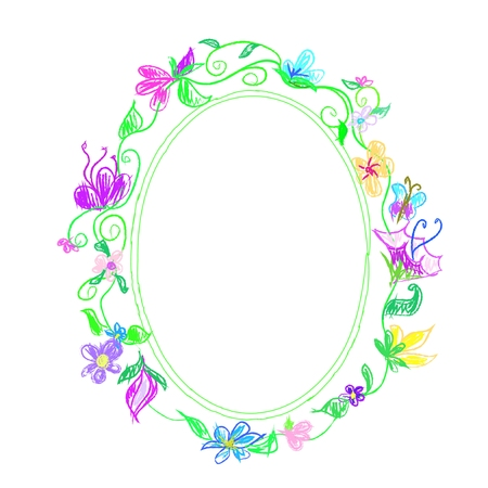 Colorful floral frame Chalk  doodle Vector
