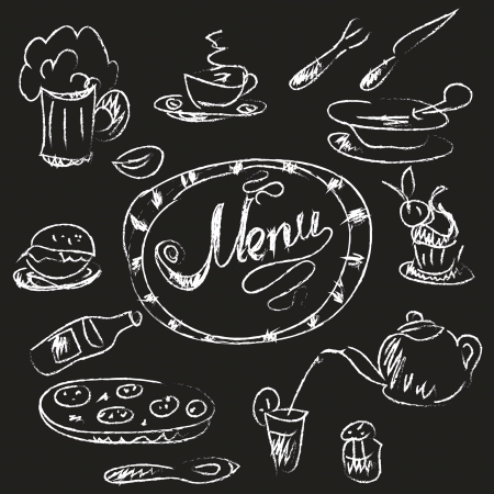Menu chalk  banner Vector