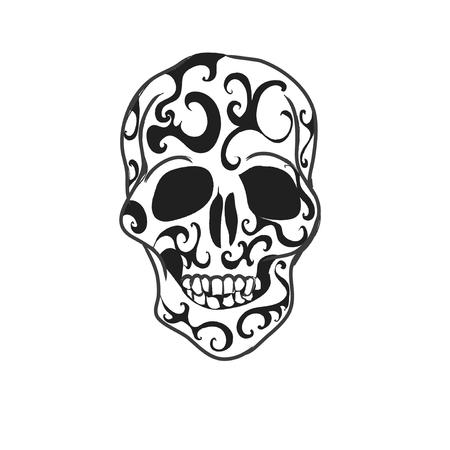 skull tattoo: Schedel tattoo Stock Illustratie