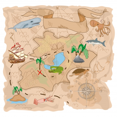 Treasure Island  map Vector