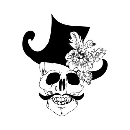 rose tattoo: Skull and Rose tattoo