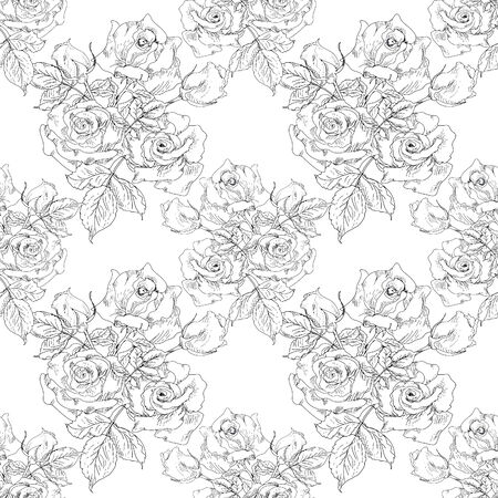 english rose: Monochrome Vintage Roses Seamless Pattern Stock Photo