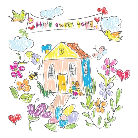 motor home: Sweet Home doodles Card Illustration