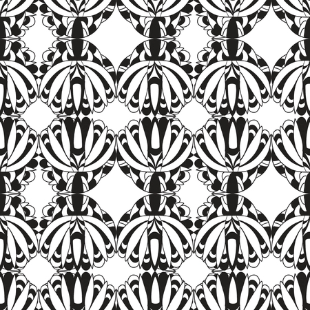 antic: Abstract Black and white floral antic  Seamless Pattern Illustration