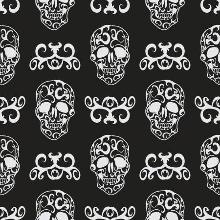 Skull floral seamless pattern Vector