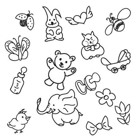 Set of Kid s Staff Doodles Vector