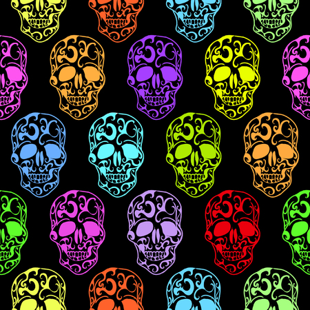 Colorful Skulls seamless pattern photo