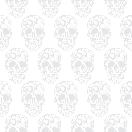 Skull floral seamless pattern photo