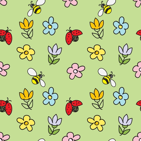 Spring Nature Seamless Pattern Vector