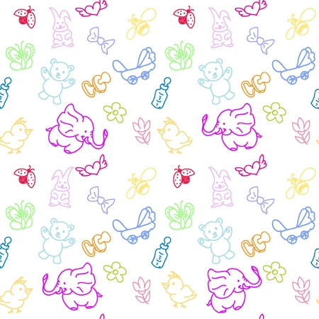 Kid s Staff Doodles seamless pattern Vector