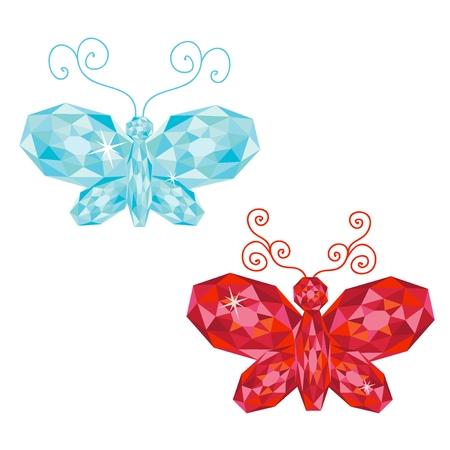 rubin: Set of gem butterflies