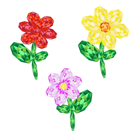 rubin: Set of gems flowers