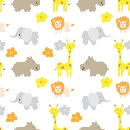 hipopotamo dibujos animados: Animales del bebé sin patrón Vectores