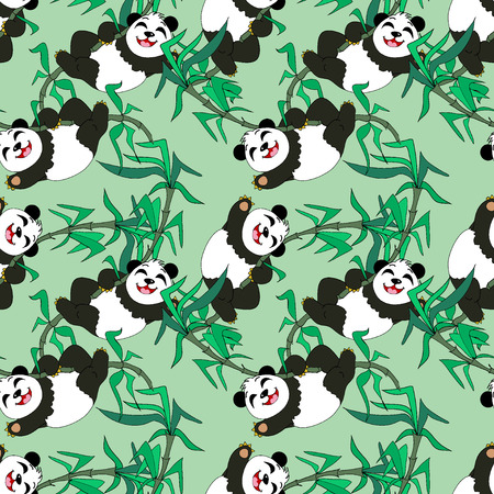 Pandas seamless pattern Vector