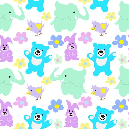 Baby Animals Seamless Background Vector