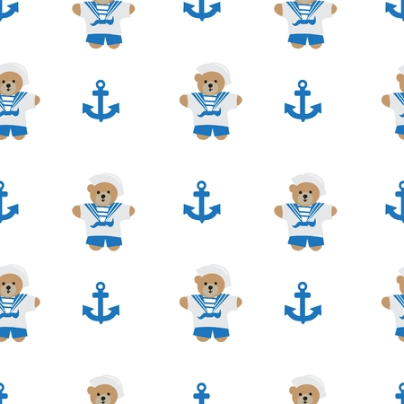 Navy anchor and  bear  seamless pattern Vector