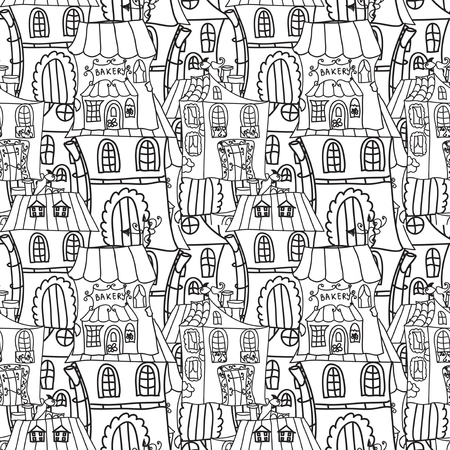 Houses monochrome seamless pattern Vector