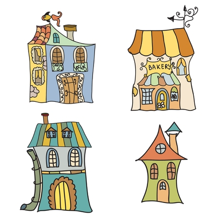 Set of Houses doodles  Vector