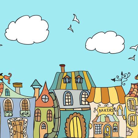 Houses doodles seamless border Vector