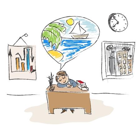Dreaming Clerk Illustration
