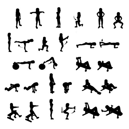 Fitness Exercises Set  Vector