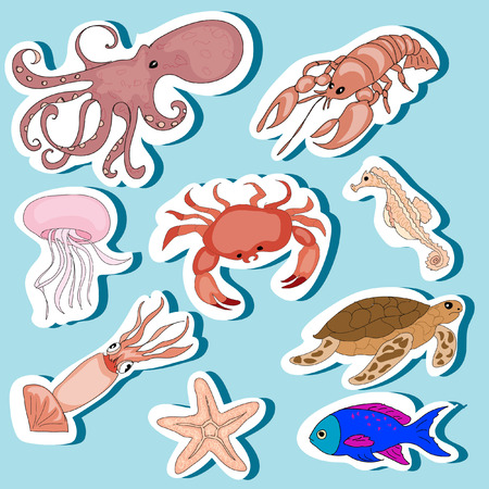 Sea Animals Stickers Set Vector