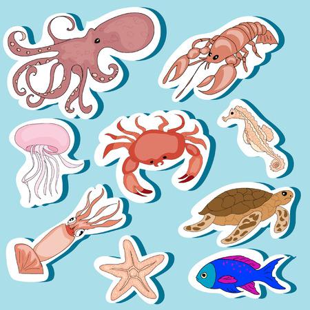sea animals: Sea Animals Stickers Set