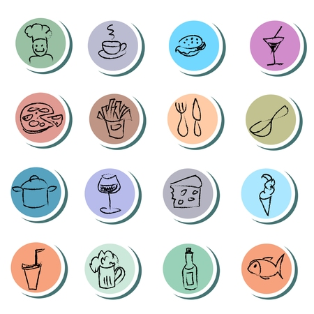 Food and drink doodles icons set Vector