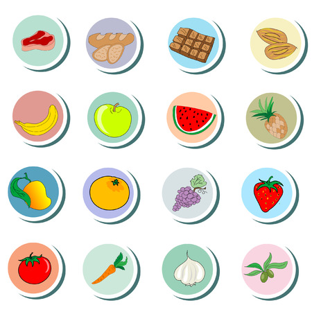 Food objects cartoon Icons Vector