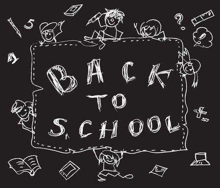 Back to school chalk doodles Vector