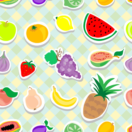Fruits Stickers Seamless pattern Vector