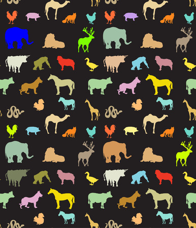 Seamless pattern of  colorful animals silhouettes  Vector