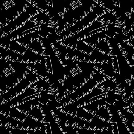 Math Seamless Pattern black and white Vector