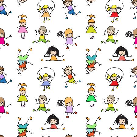 Color Kids Doodles seamless Pattern Vector