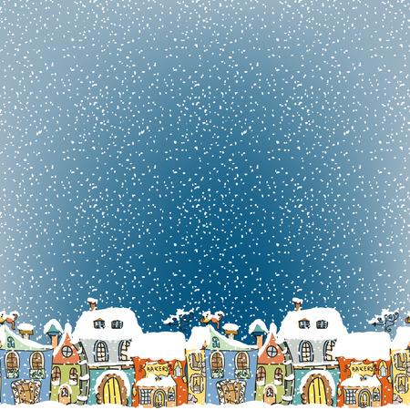 Winter Houses seamless border Vector