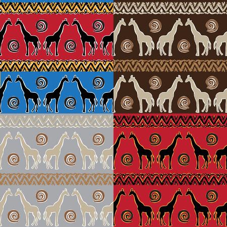 jirafa fondo blanco: Conjunto de �tnico tribal Modelo incons�til con las jirafas