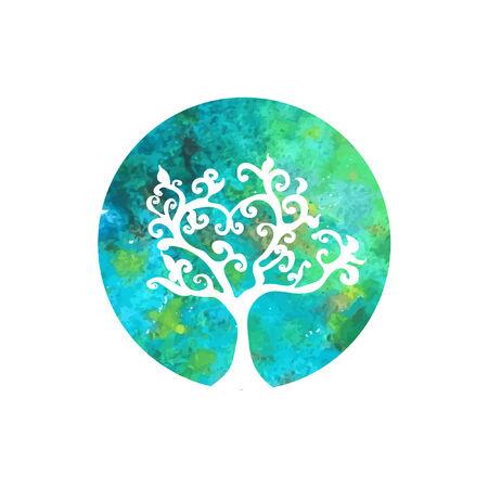 green tree: watercolor tree vector icon