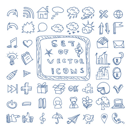 Set of chalk vector doodles icons Vector
