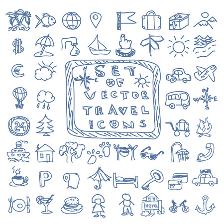 Set of travel vector doodles icons Vector
