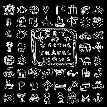 Set of travel vector chalk doodles icons Vector